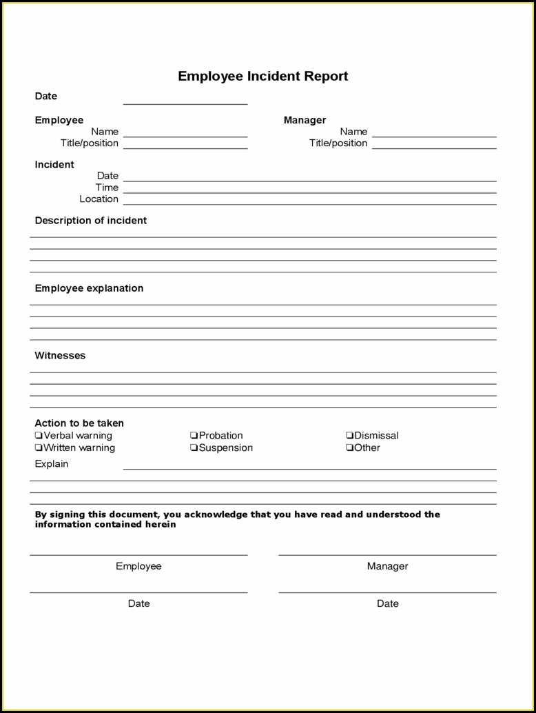 Work Accident Report Form Template Free