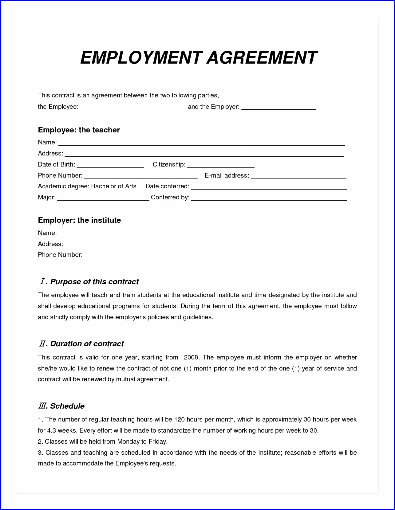 Work Contract Agreement Format In Word