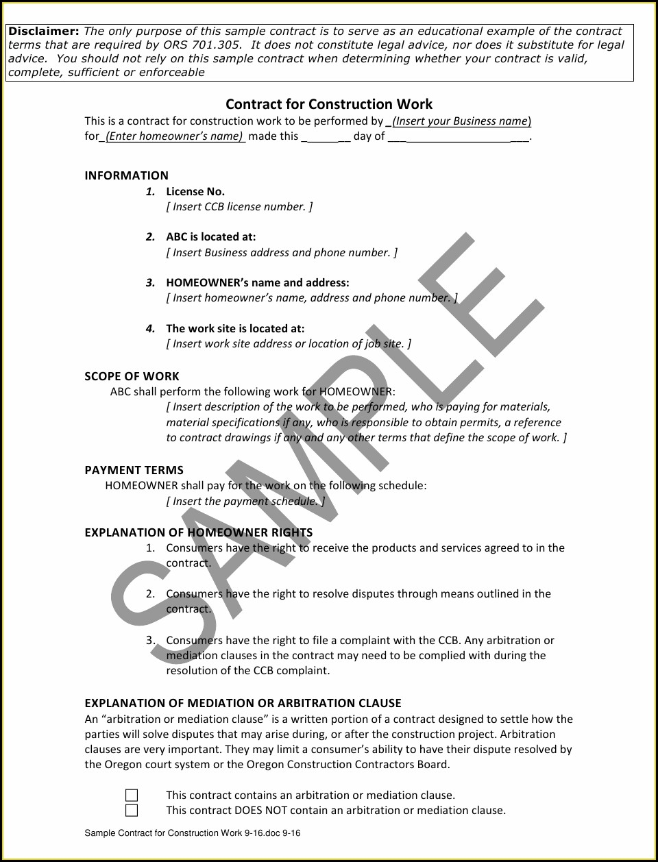 Work Contract Sample Pdf