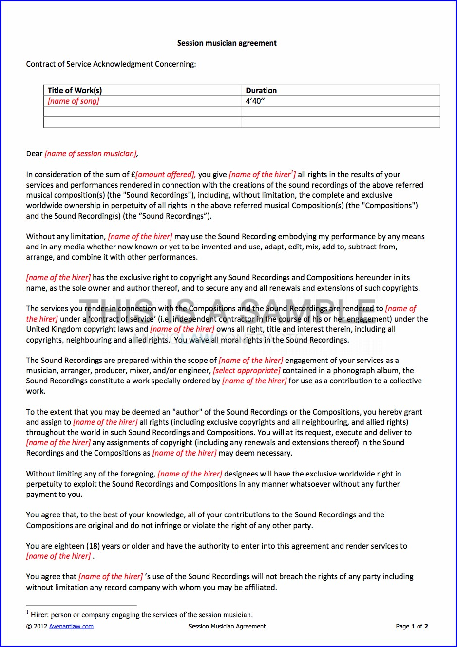 Work For Hire Contract Template