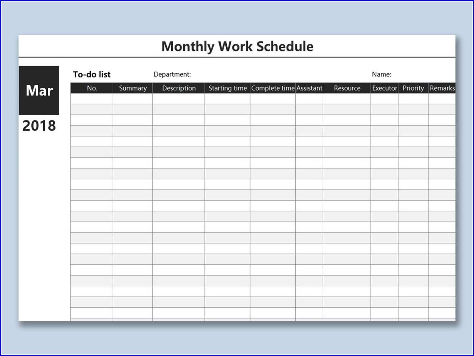 Work Plan Spreadsheet Template