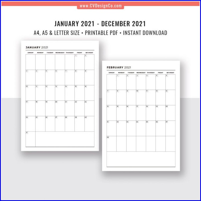 Work Schedule Calendar Template 2021