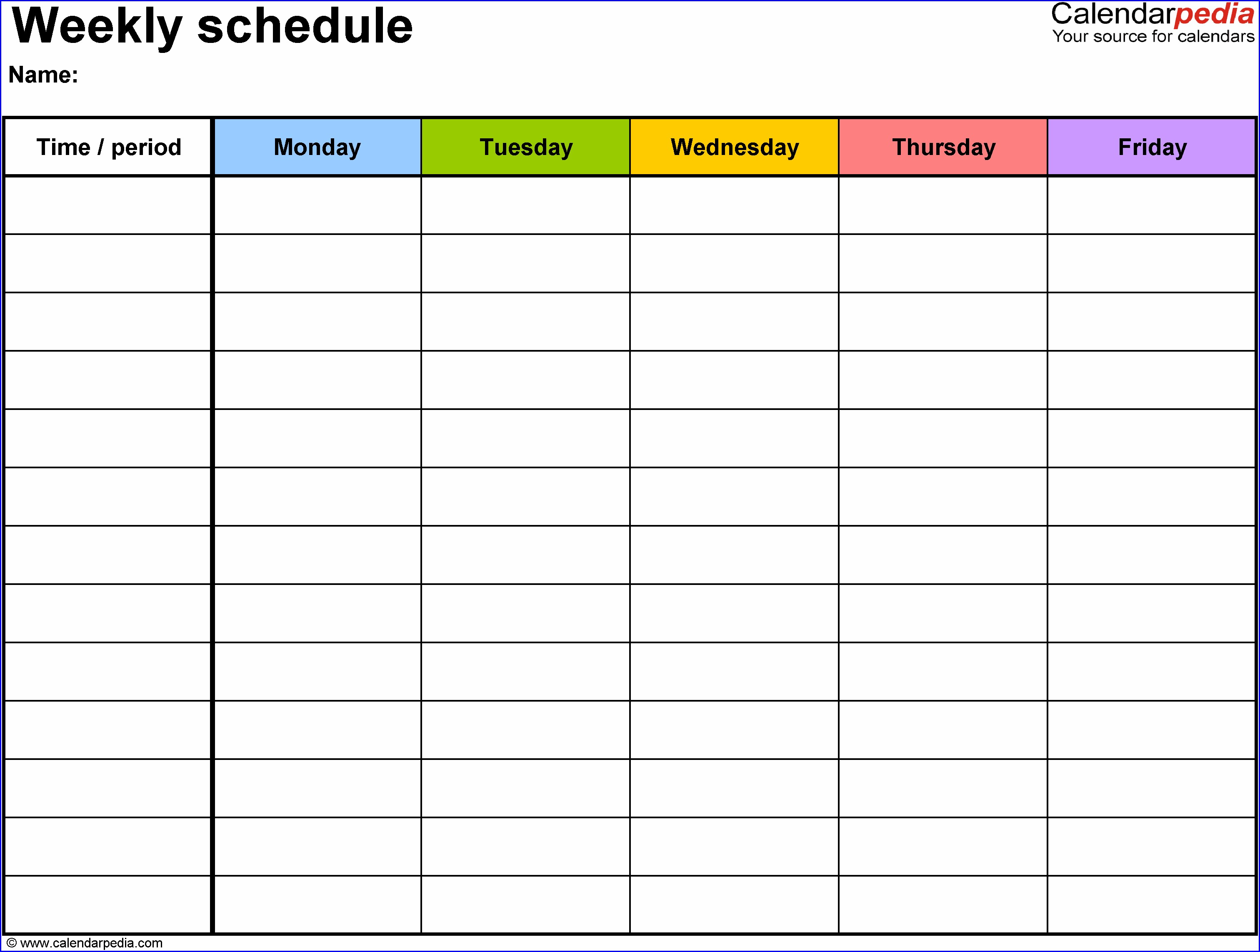 Work Week Calendar Template 2019