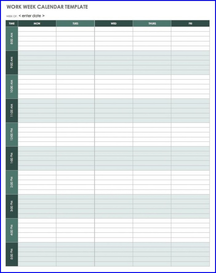 Work Week Planner Template