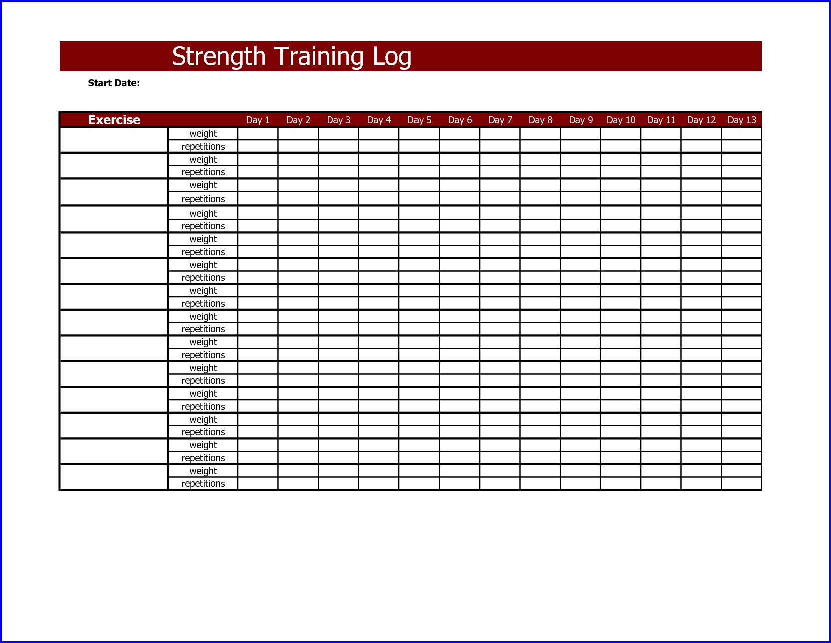 Workout Log Book Template
