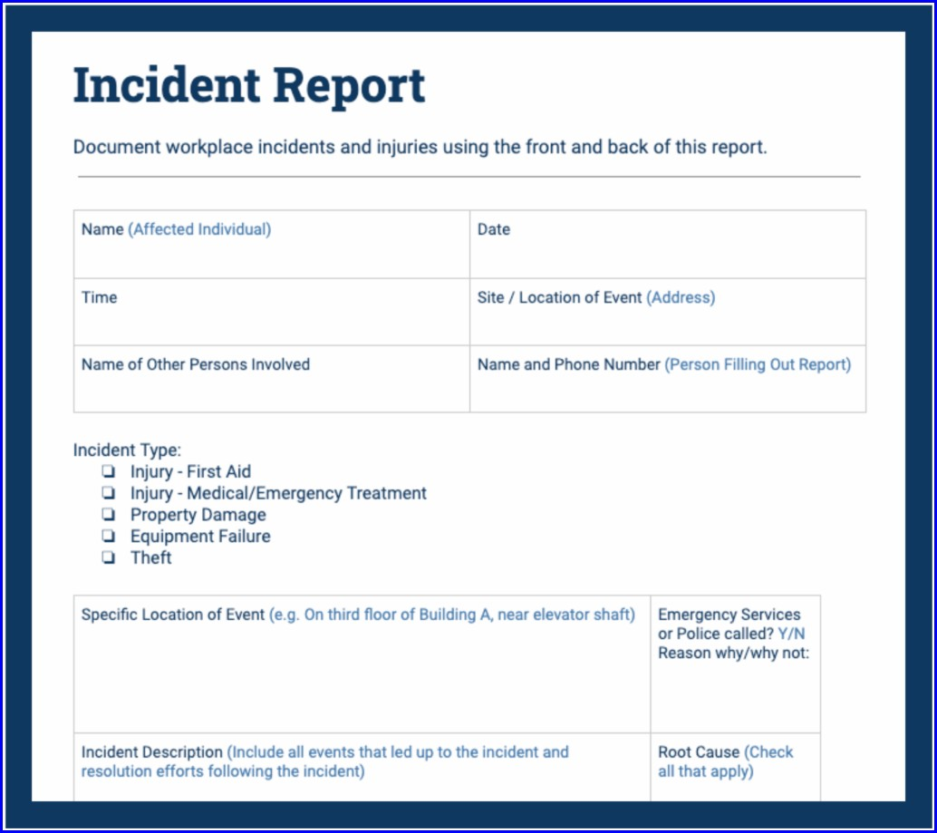 Workplace Car Accident Report Sample Pdf
