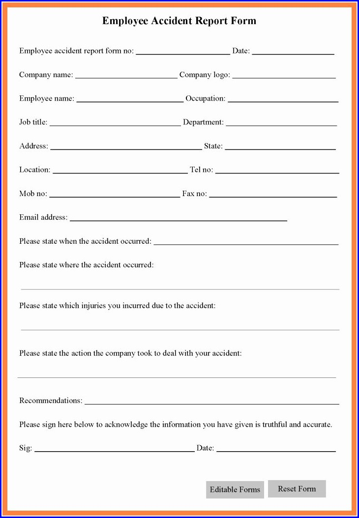 Workplace Incident Report Form Template