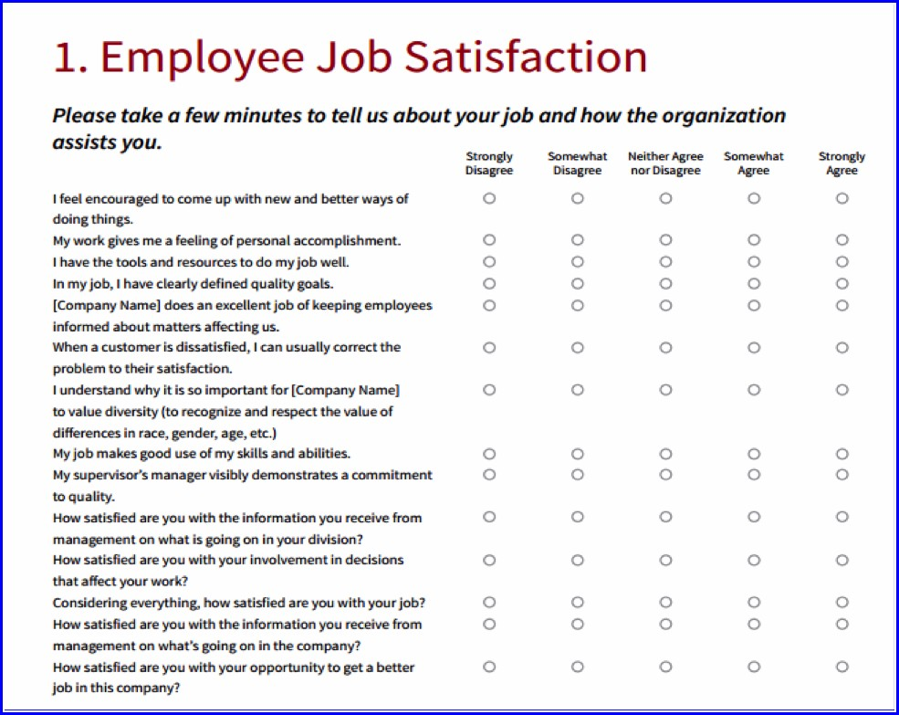 Workplace Satisfaction Survey Template