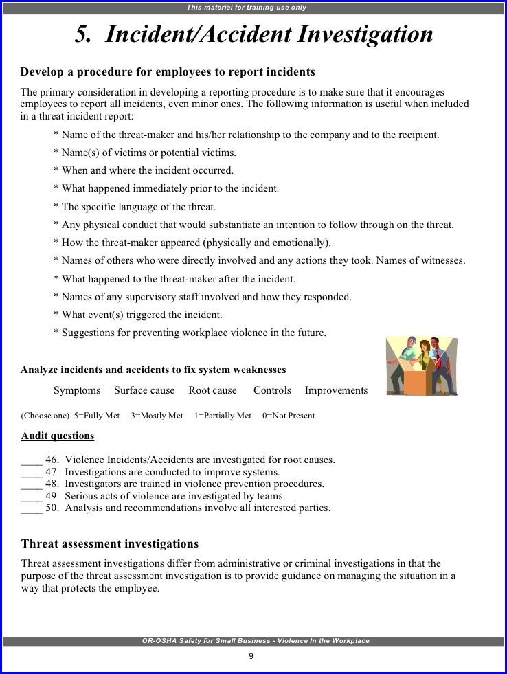 Workplace Violence Incident Report Form Template