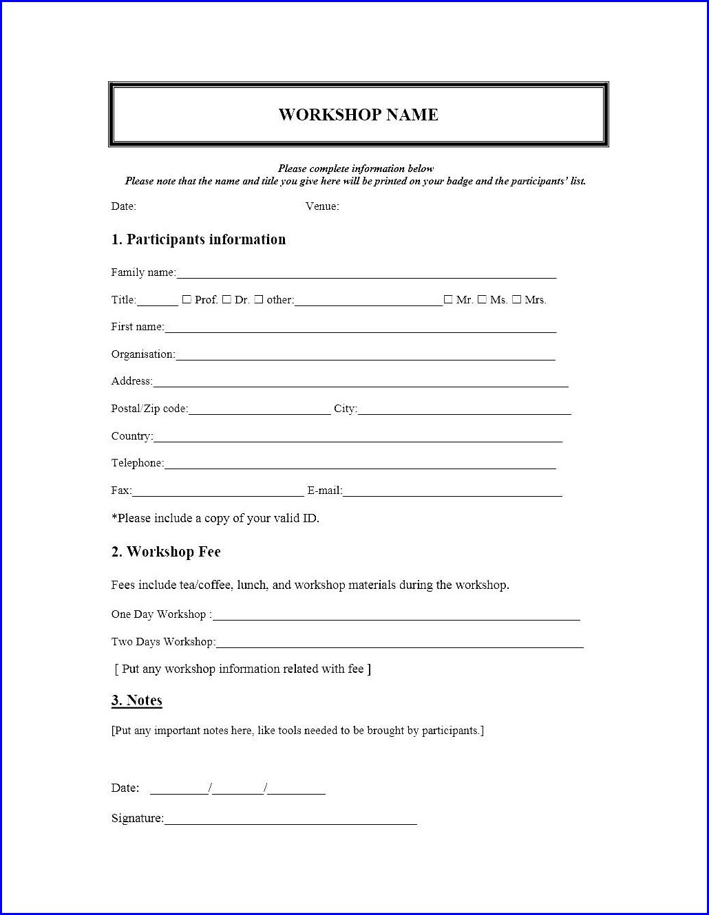 Workshop Registration Form Template Doc