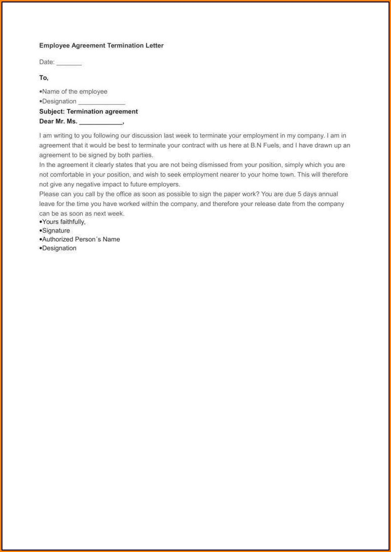 Writing Termination Of Employment Letter