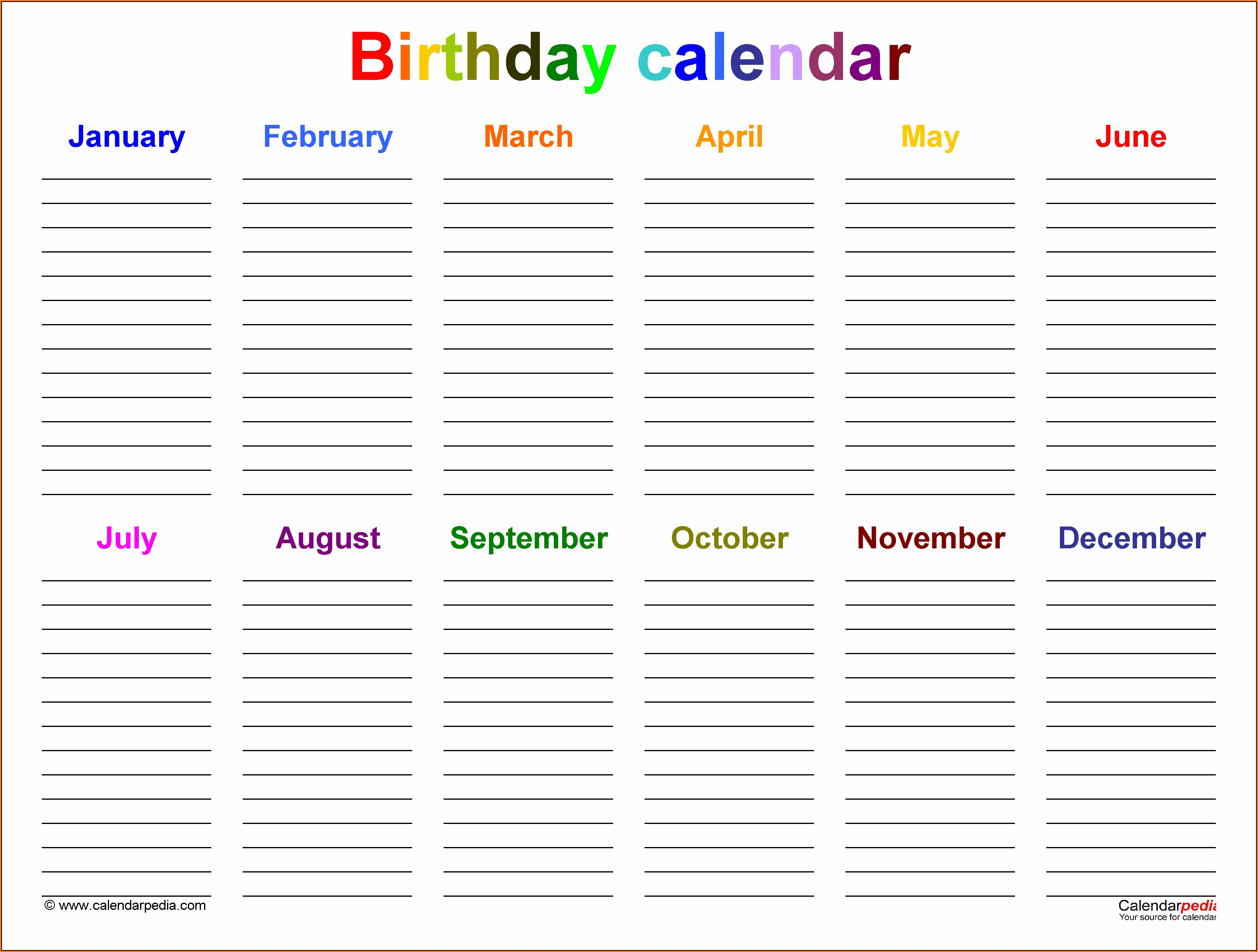 Yearly Birthday Calendar Template Free