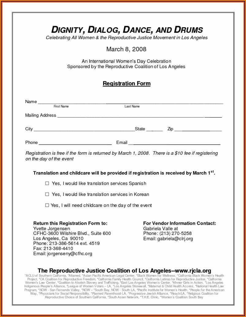 Youth Application Form Template