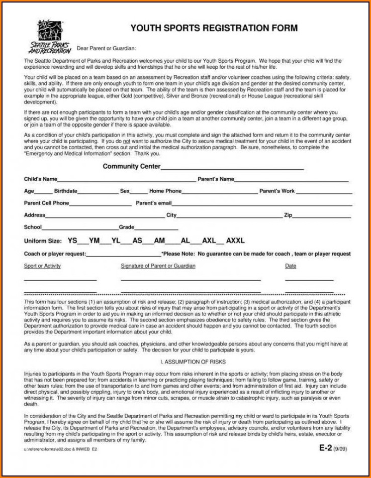 Youth Baseball Registration Form Template