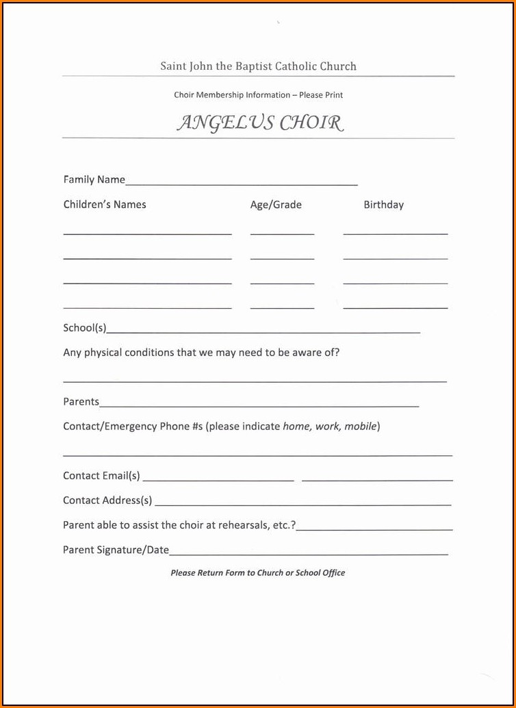 Youth Registration Form Template Word