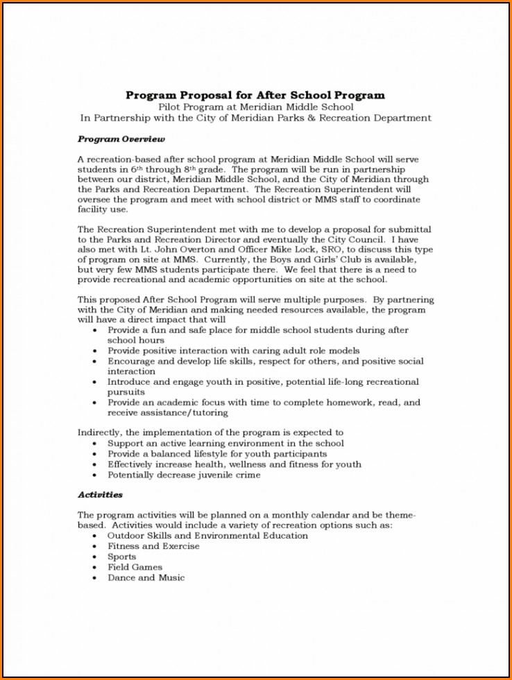 Youth Sports Program Sample Proposal