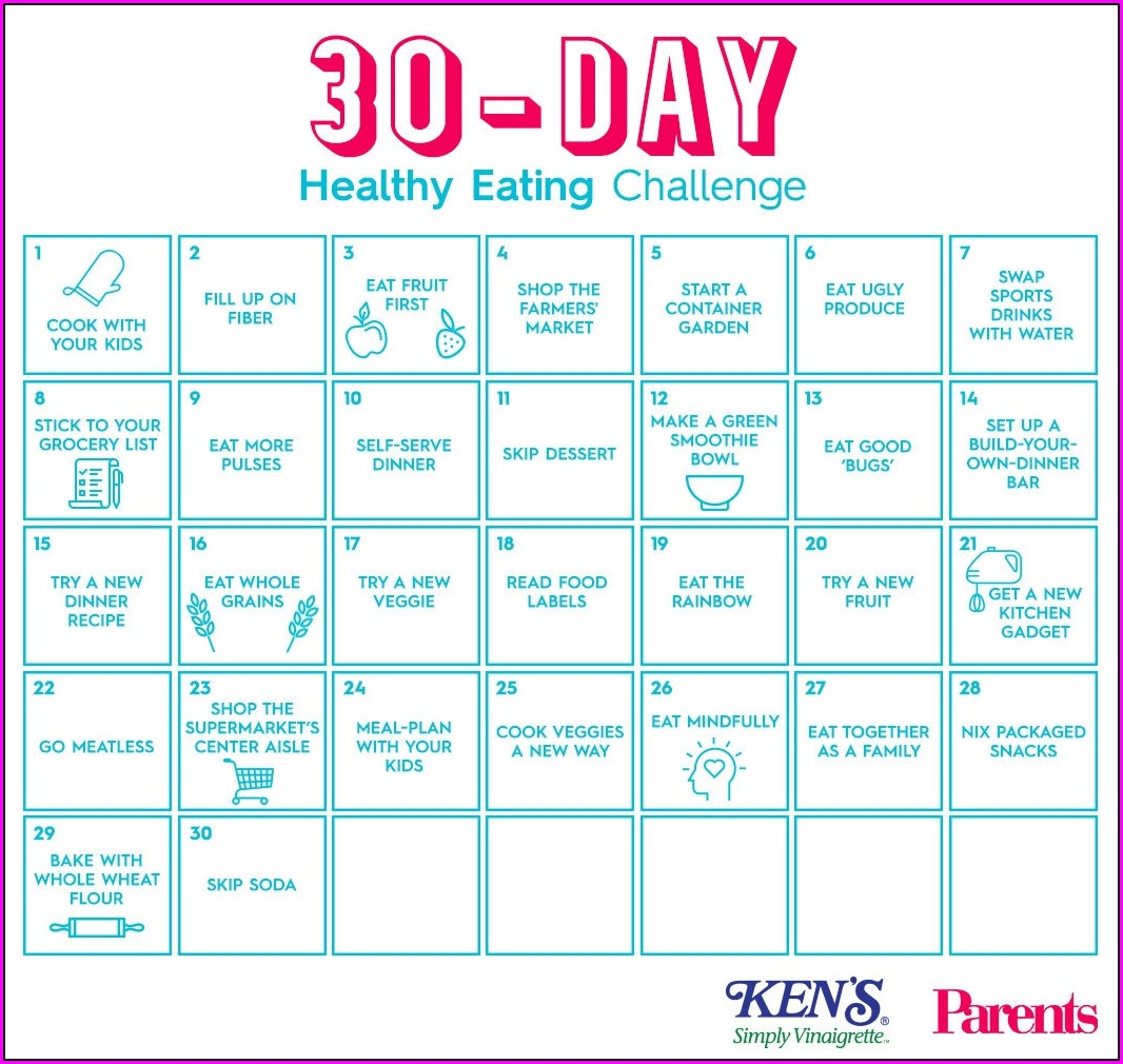 30 Day Meal Plan Calendar Template