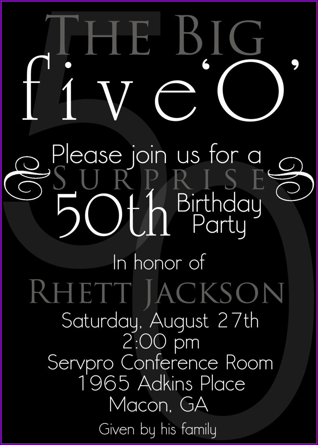 50th Birthday Invitation Templates Free