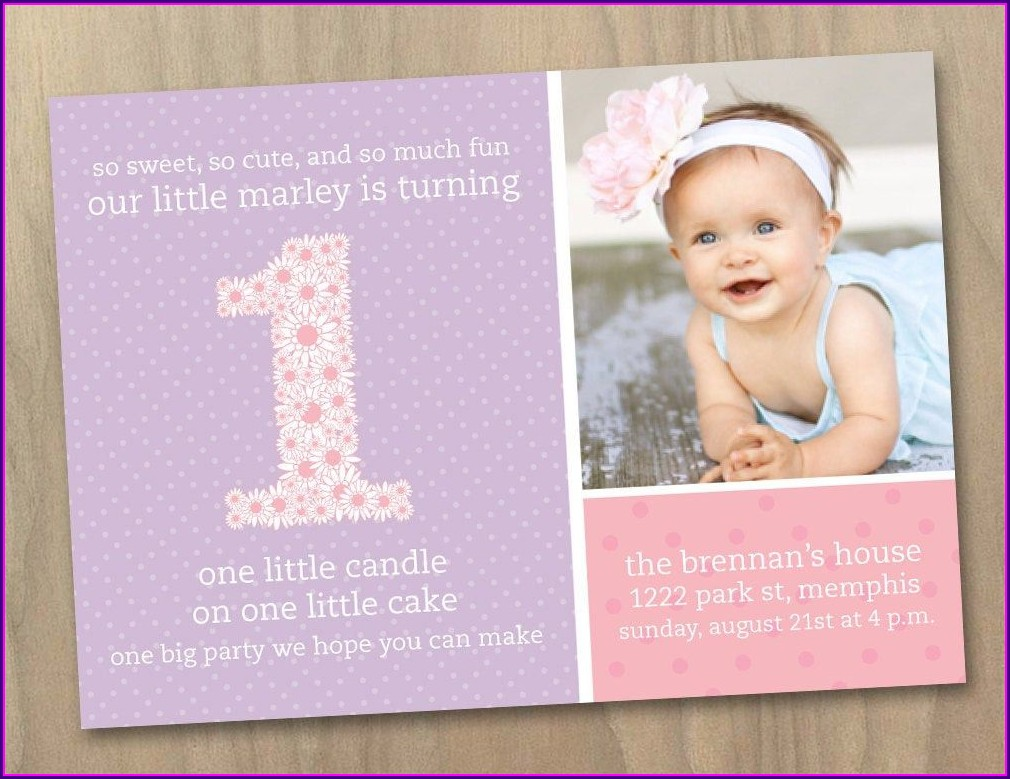 Baby Girl 1st Birthday Invitations