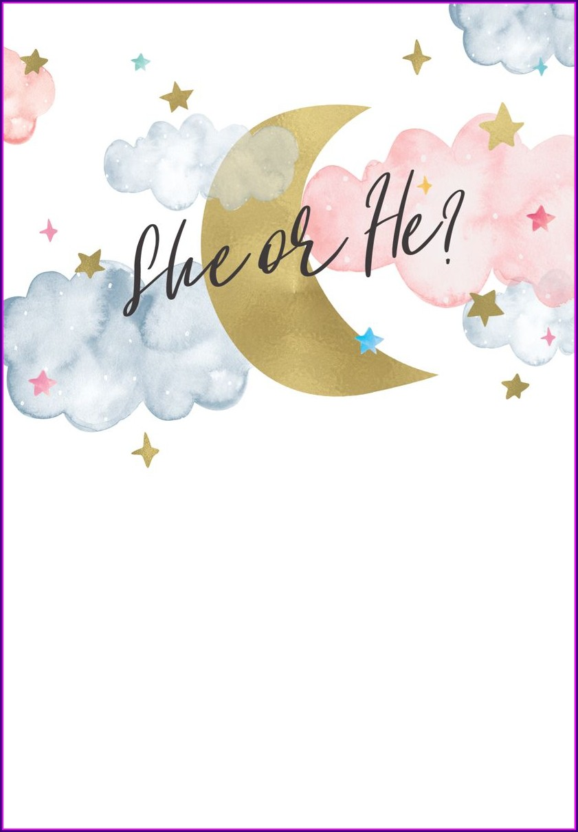Background Gender Reveal Invitation Template