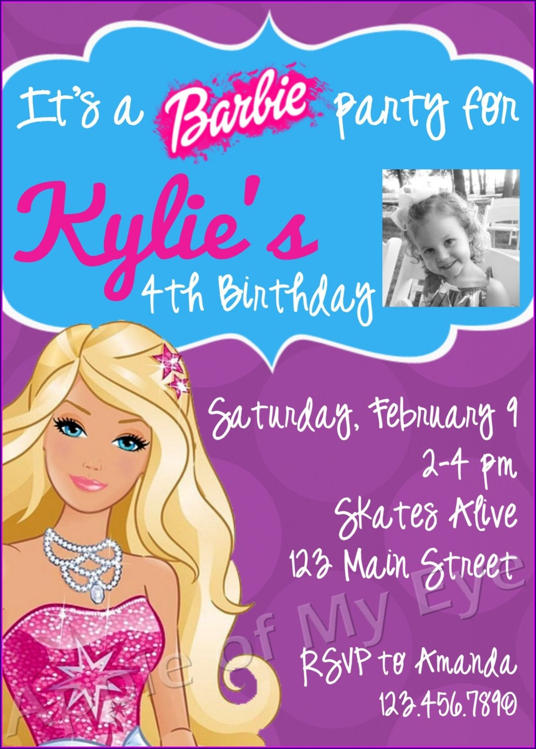 Barbie Girl Birthday Invitations