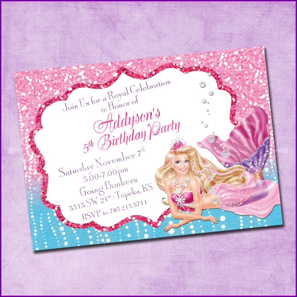 Barbie Mermaid Birthday Invitations