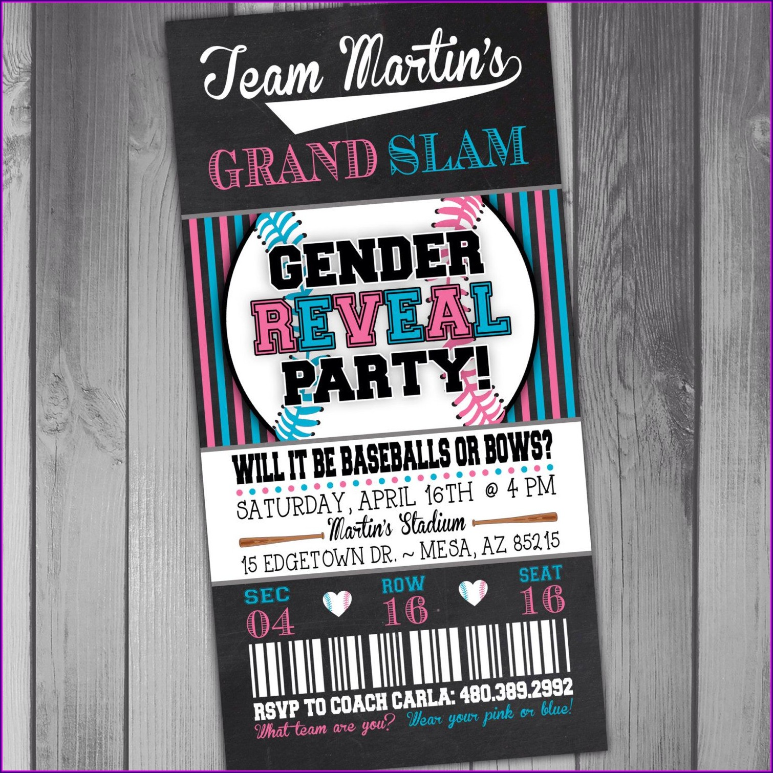Baseball Gender Reveal Invitation Template