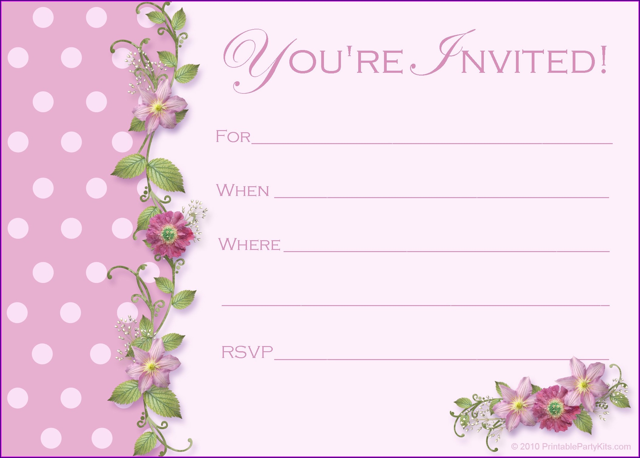 Blank 1st Birthday Invitations Girl Templates Free