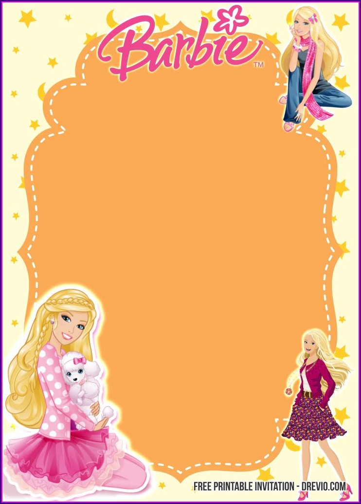 Blank Barbie Birthday Invitations