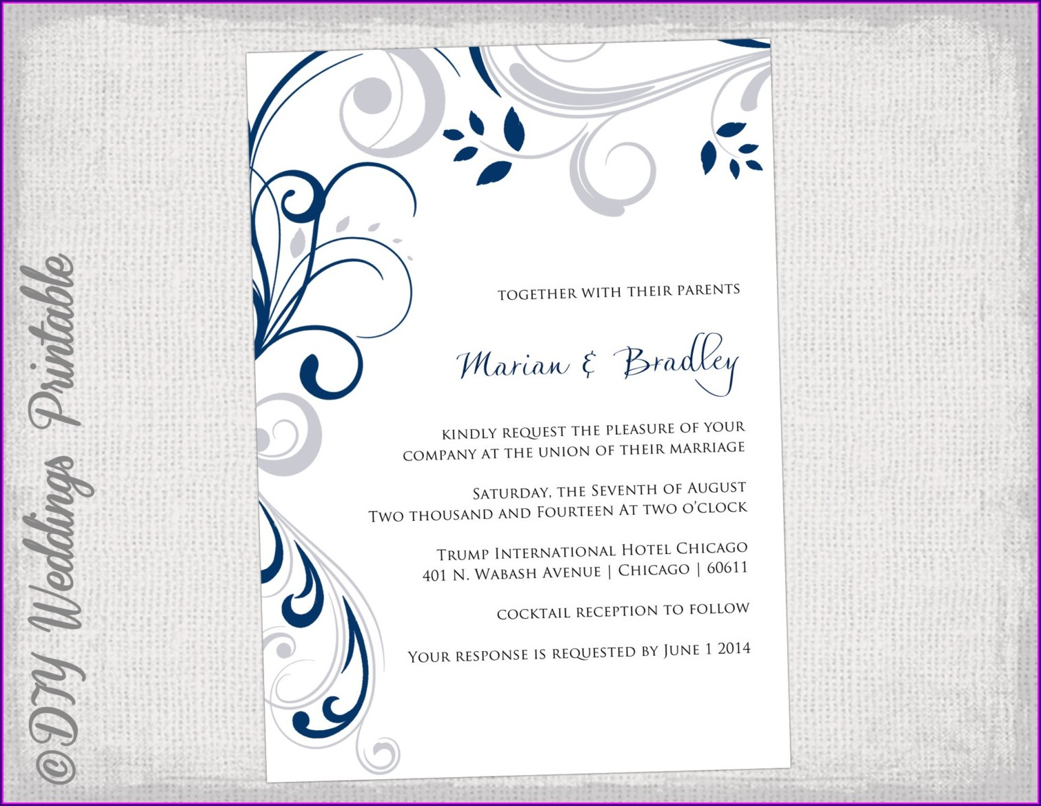 Blank Blue Wedding Invitation Templates