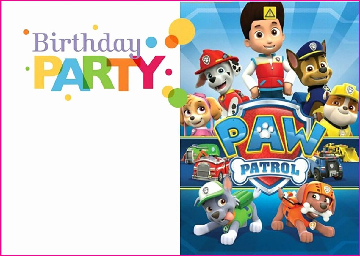 Blank Editable Paw Patrol Invitation Template
