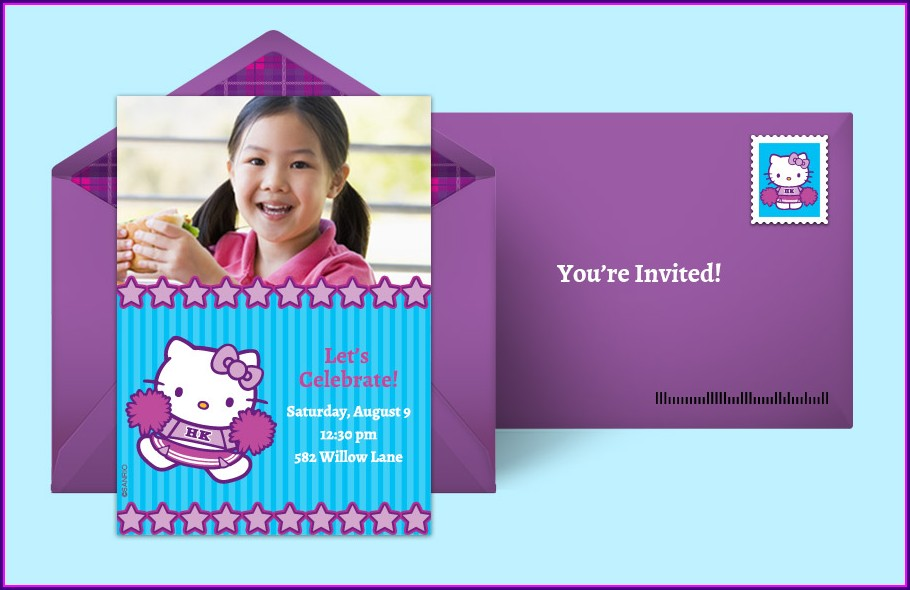 Blank Hello Kitty Invitation Background