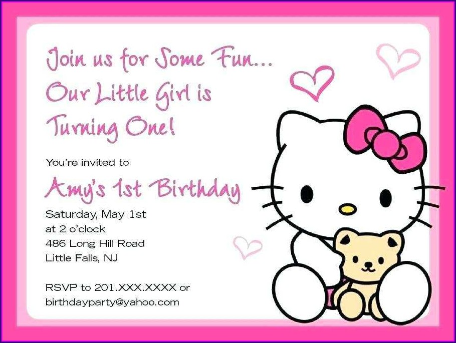 Blank Hello Kitty Invitation Layout