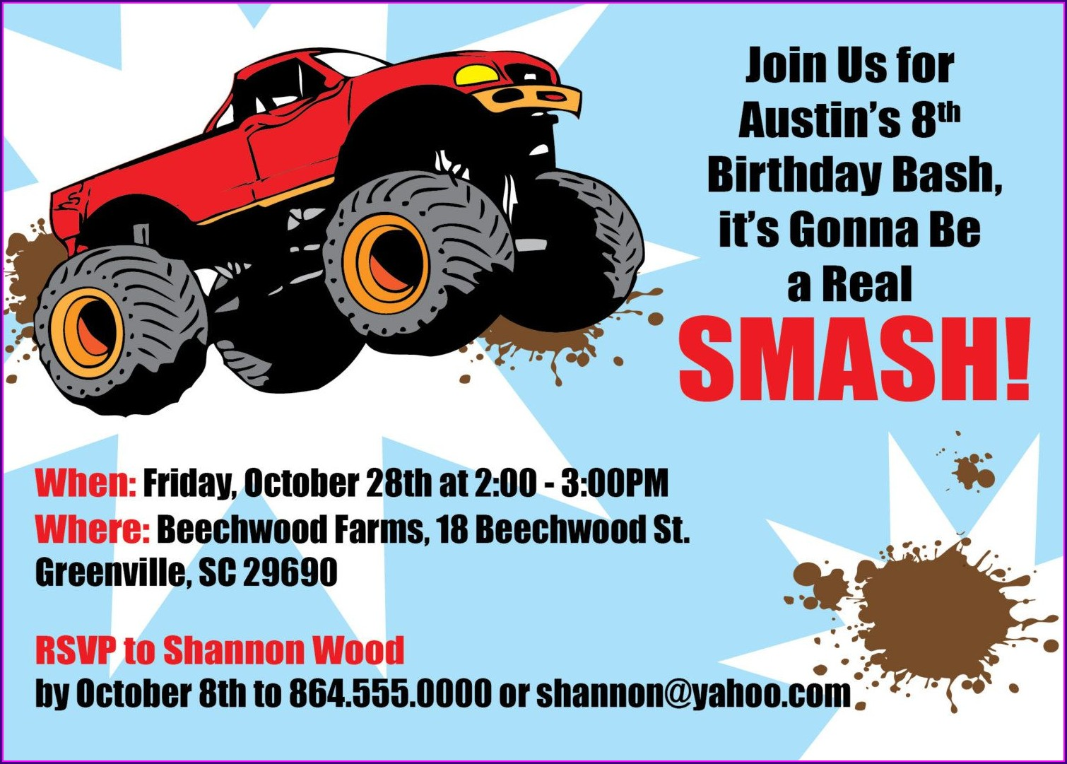 Blank Monster Jam Birthday Invitations