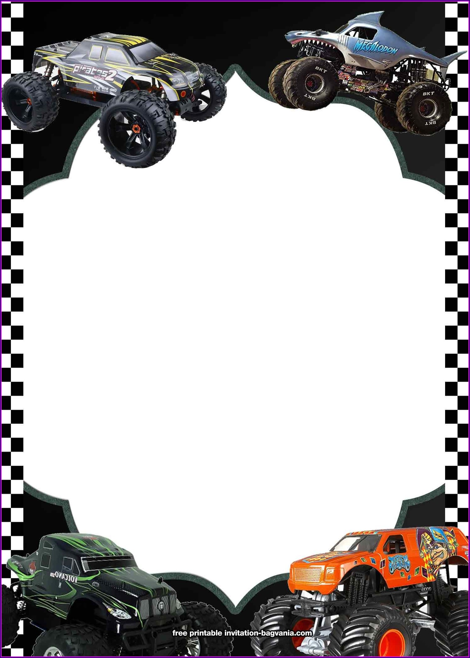 Blank Monster Truck Birthday Invitations