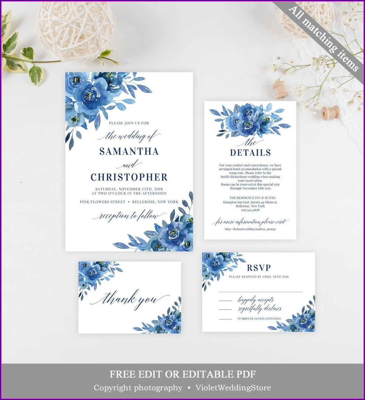 Blank Navy Blue Wedding Invitation Background