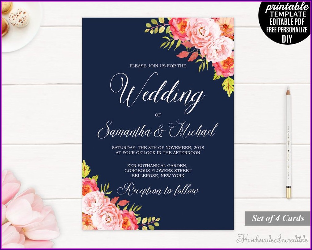 Blank Navy Blue Wedding Invitation Templates Free