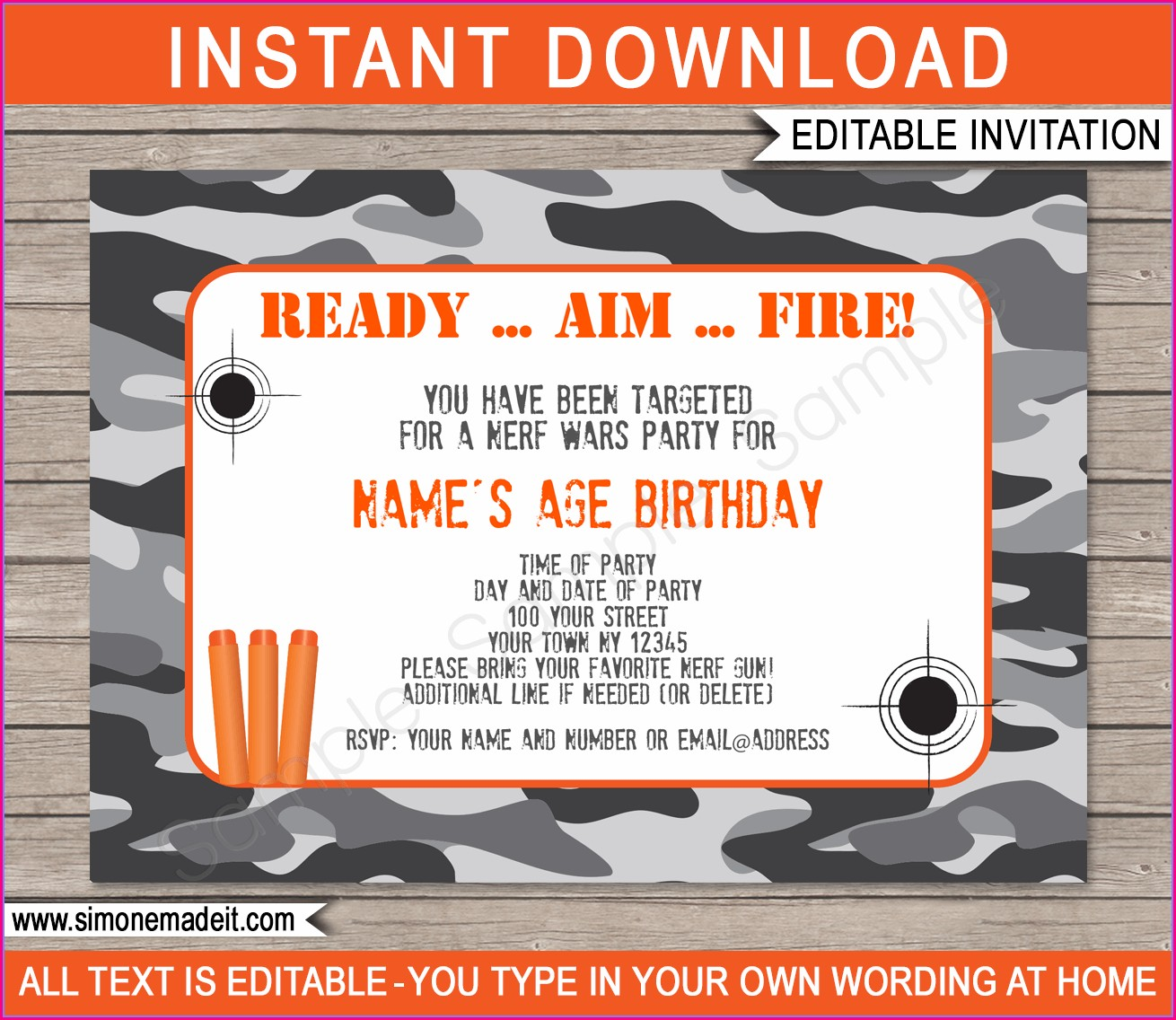 Blank Nerf Birthday Invitations