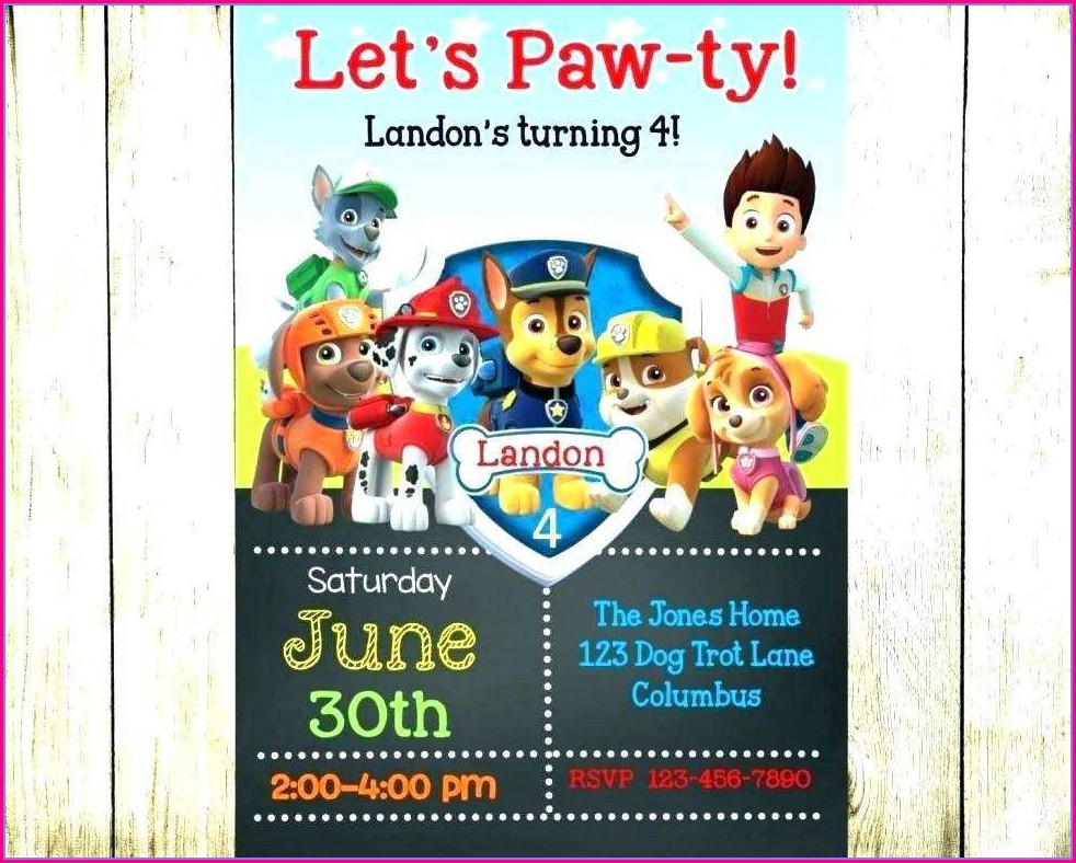 Blank Paw Patrol Invitation Template