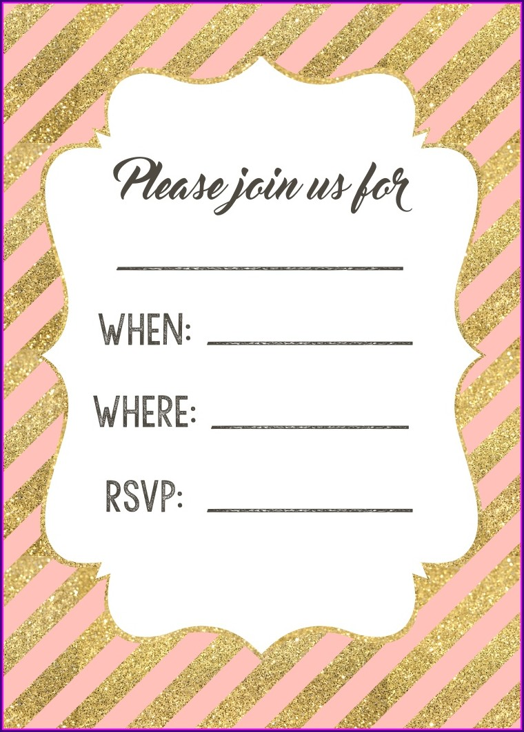 Blank Pink And Gold Birthday Invitations