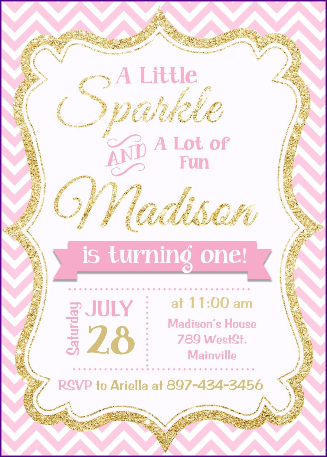 Blank Pink And Gold Invitations