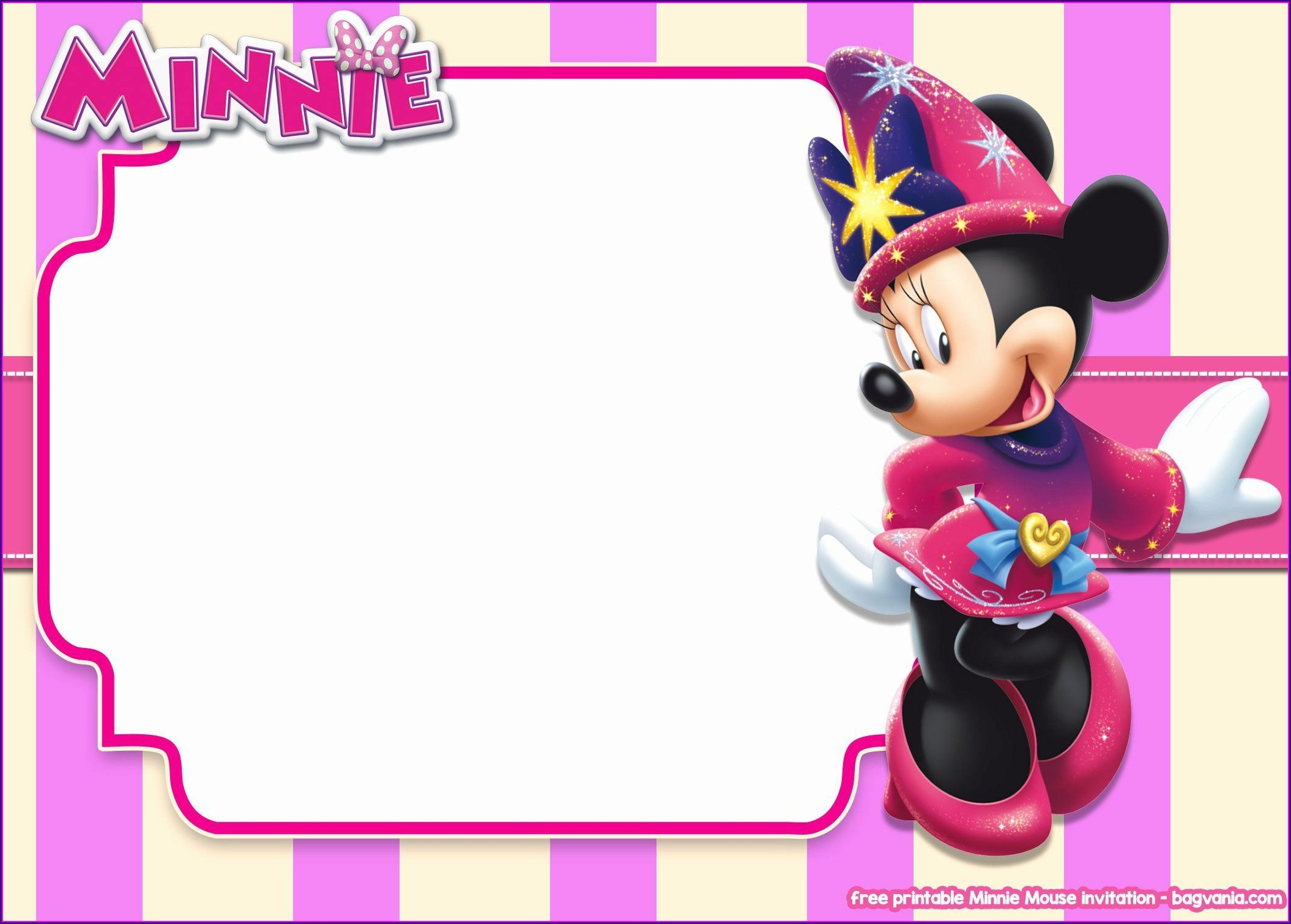 Blank Pink And Gold Minnie Mouse Invitations