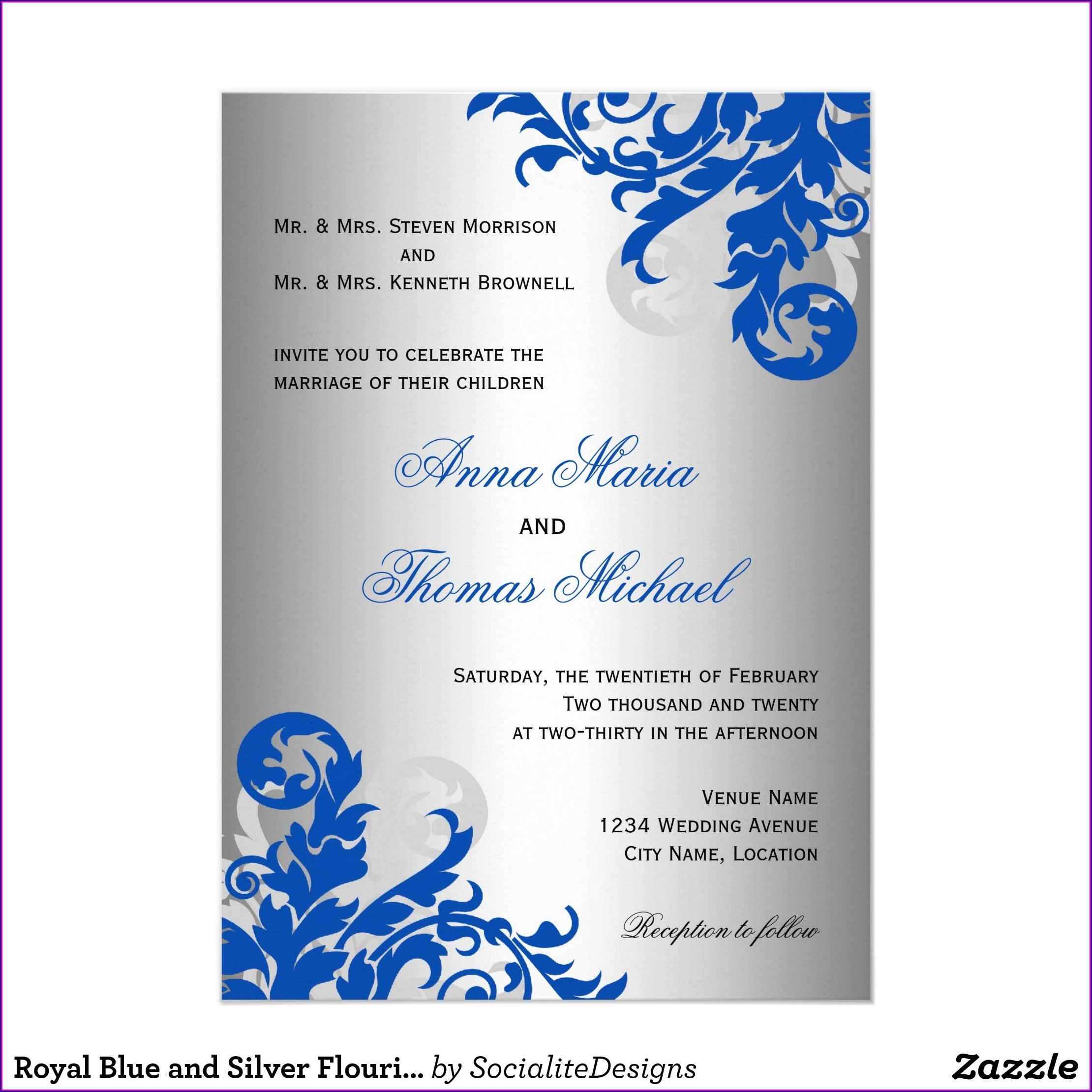 Blank Royal Blue Wedding Invitation Background Hd