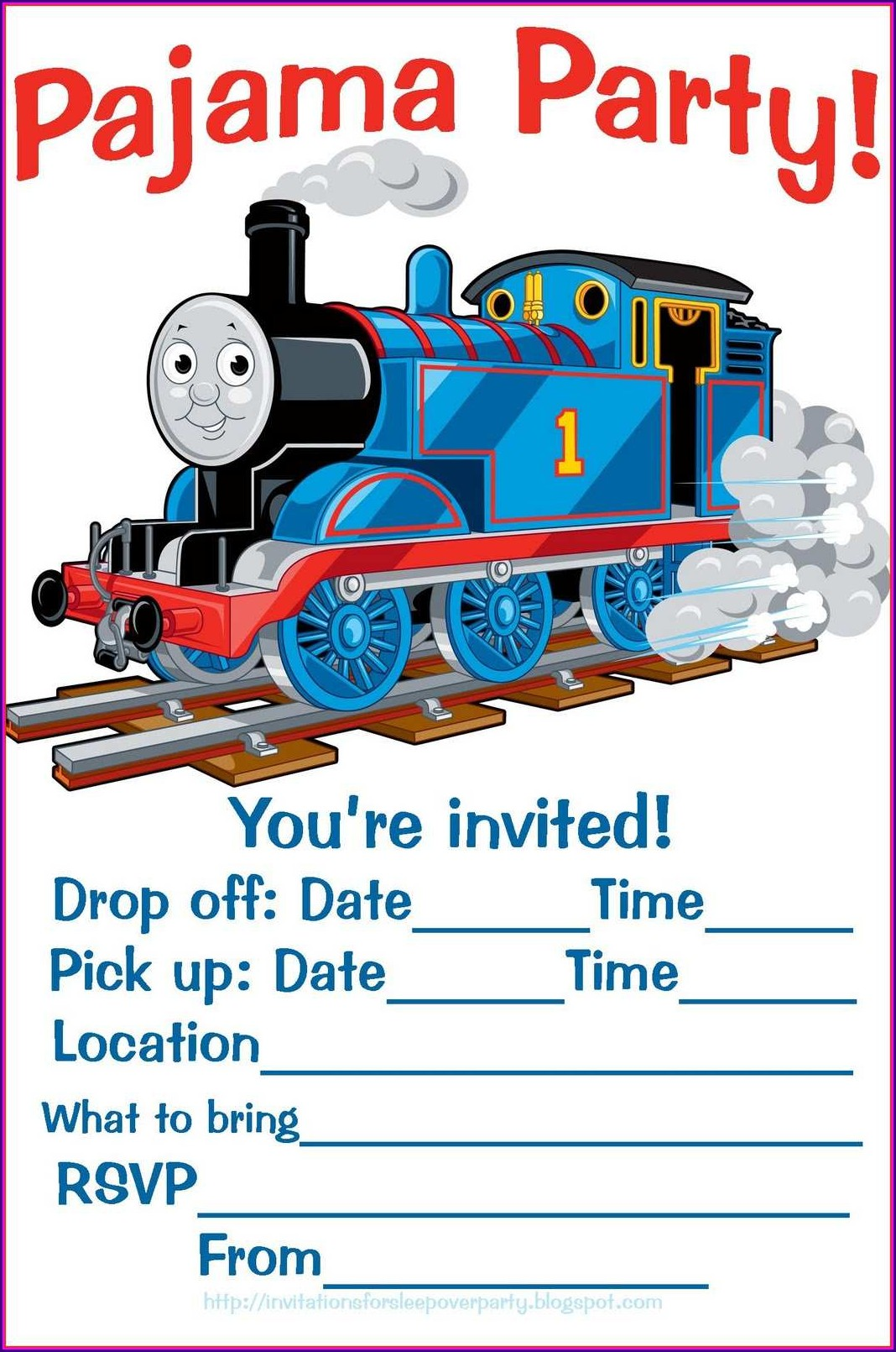 Blank Thomas The Train Invitations