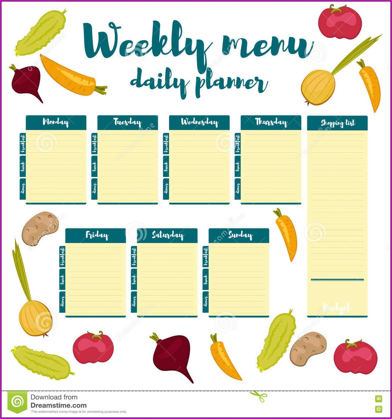 Blank Weekly Food Menu Template