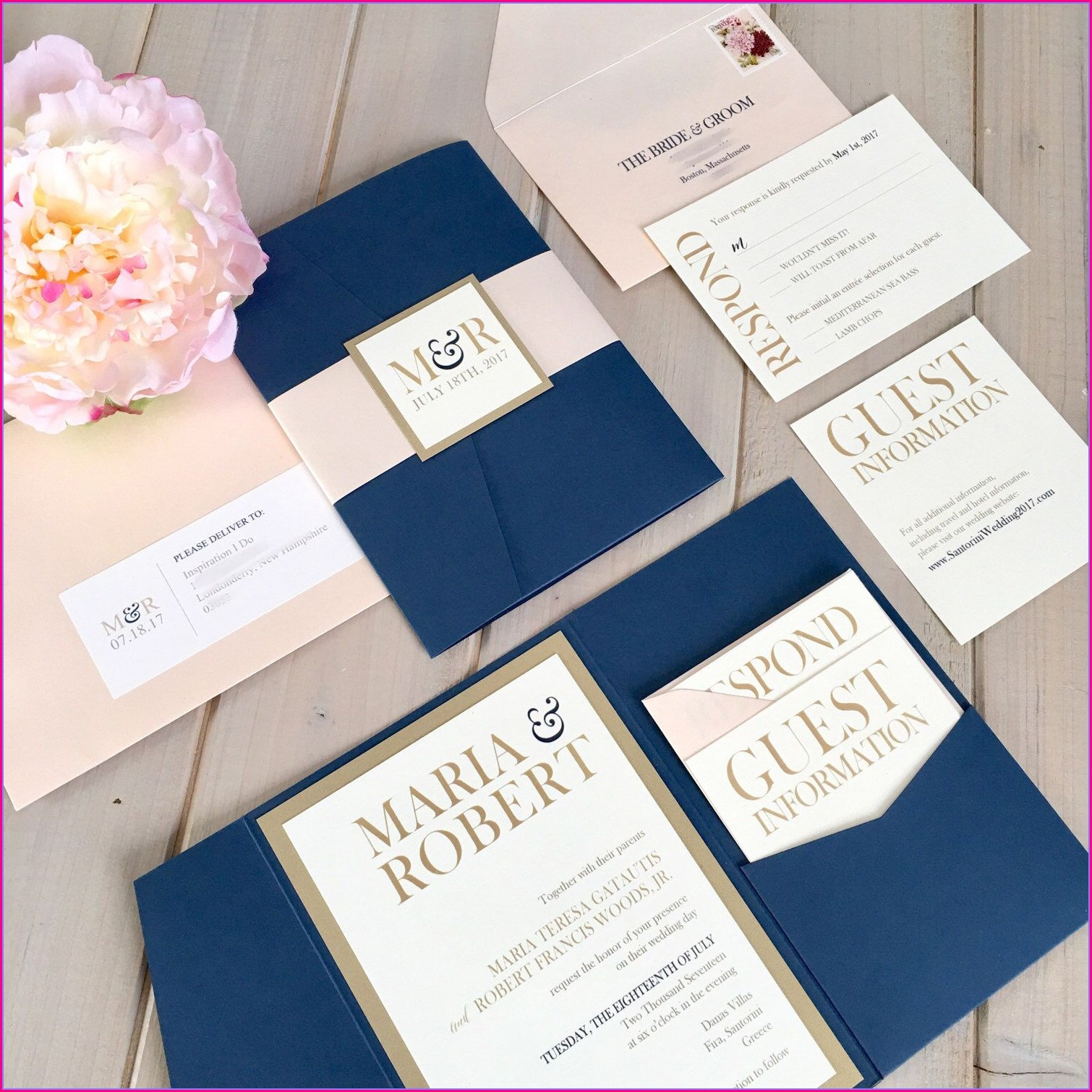 Blush And Navy Wedding Invitations
