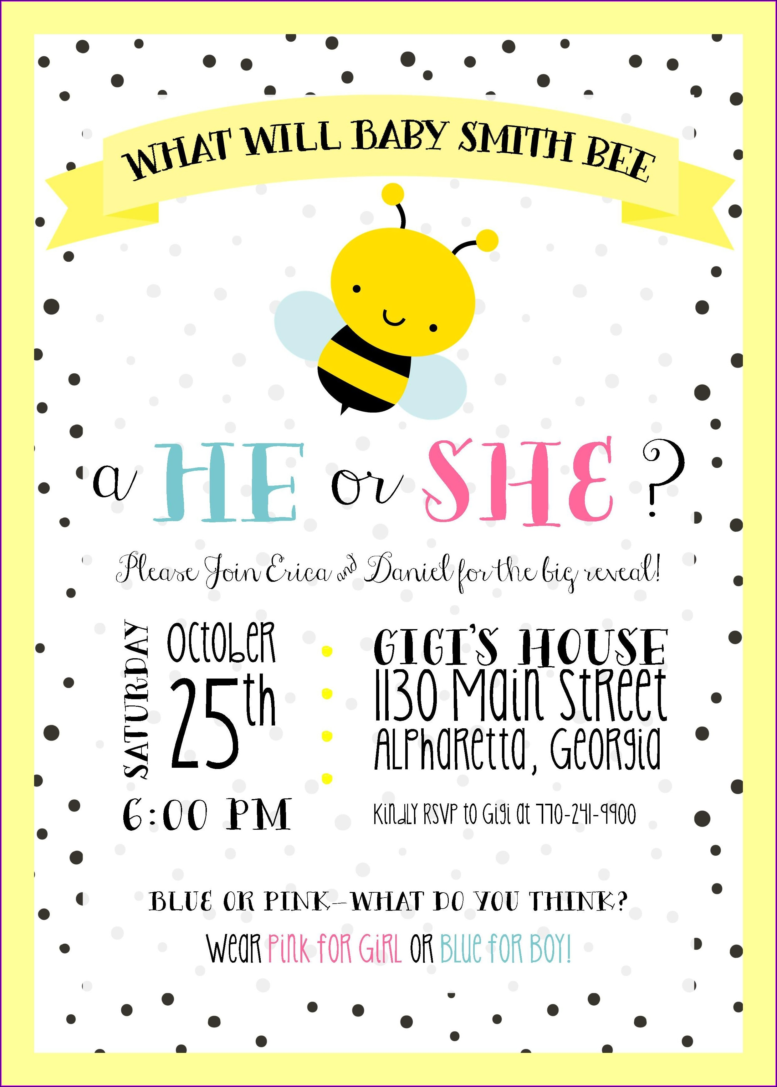 Bumble Bee Gender Reveal Invitation Templates