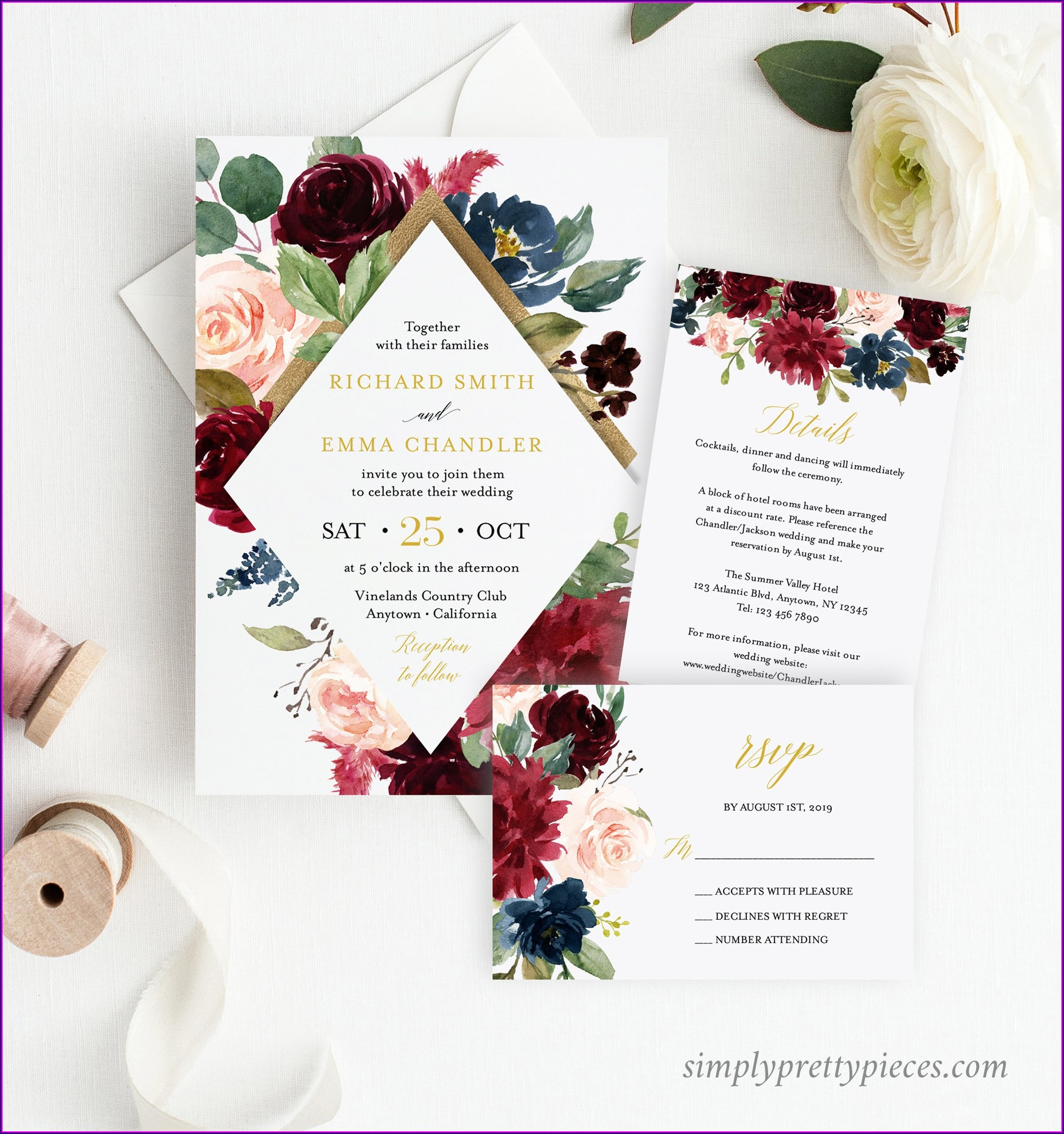 Burgundy Navy And Gold Wedding Invitations