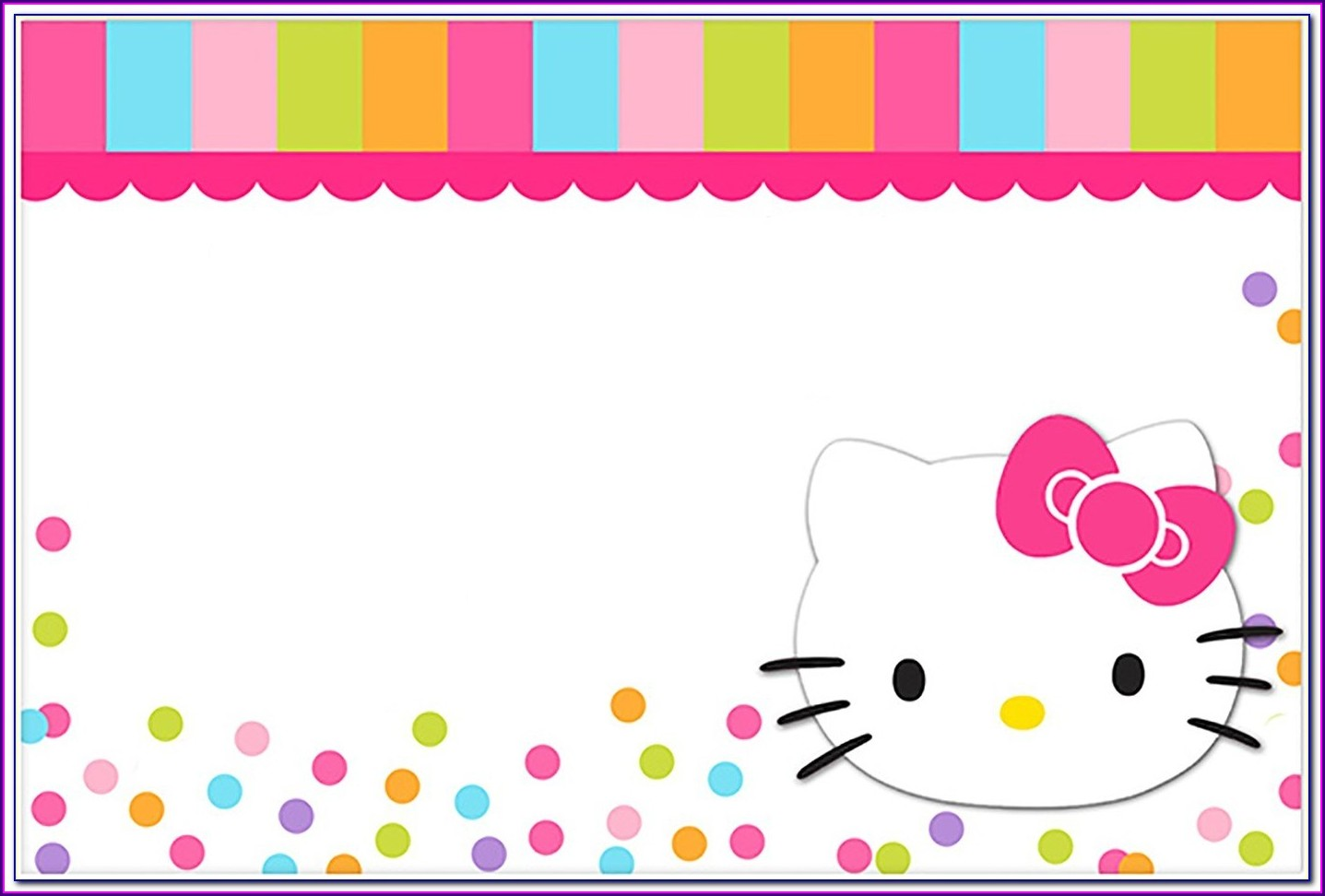 Card Editable Hello Kitty Invitation Template Blank
