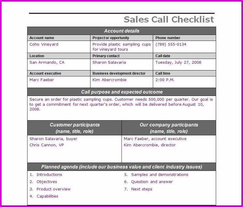 Checklist Sales Call Plan Template
